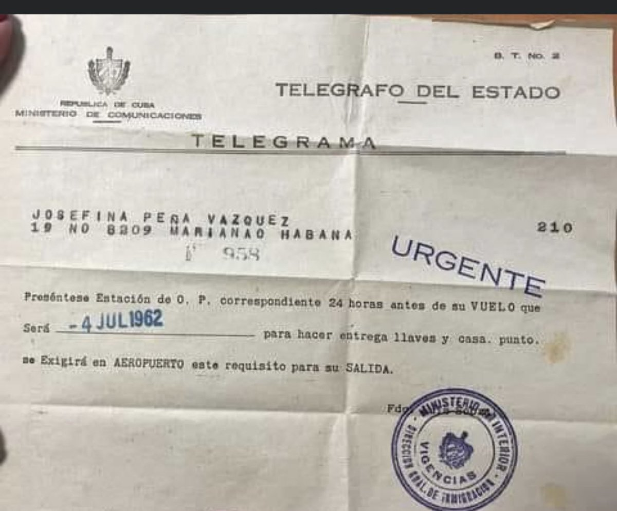 Años 60 en #Cuba si te ibas del país tenías que dejar, casa,carro, y todo lo que tuvieras.. el socialismo justo y humano!@DiazCanelB https://t.co/1fiqnG39sA