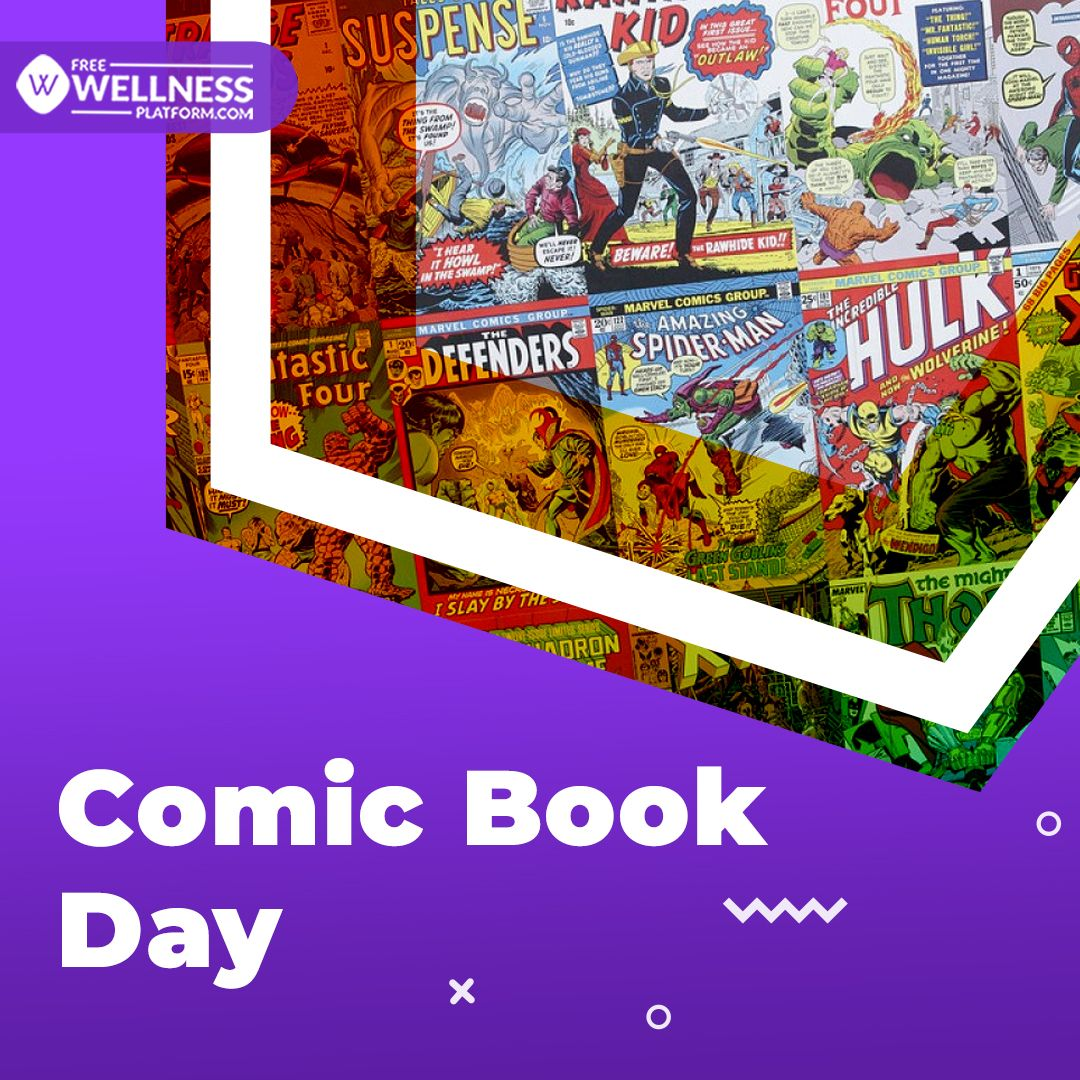 The #NationalComicBookDay honors artists who create comic books. Reading comic books are good for a healthy laugh, #stressrelief, & better #mentalhealth.  #HealthAndWellness #corporatewellness #healthylifestyle #challenges #wellbeing #holistichealth #wellness #MentalHealthMatters https://t.co/bfpPJzVevN