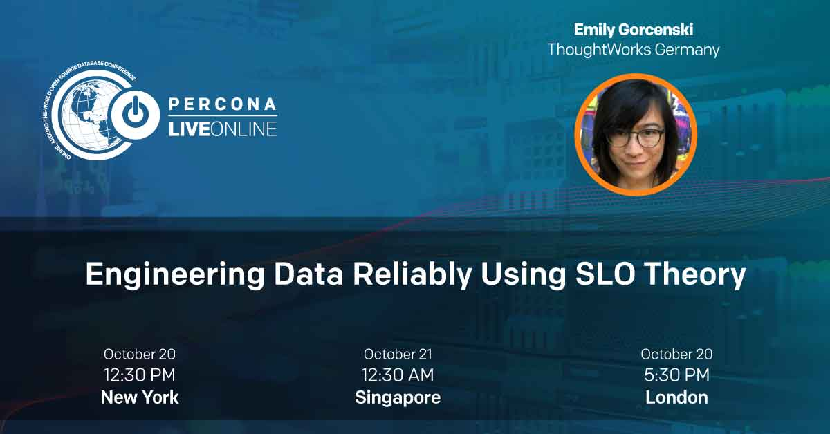 """""""Engineering Data Reliably Using SLO Theory"""" by Emily Gorcenski (@EmilyGorcenski) from ThoughtWorks Germany (@thoughtworks_de) at Percona Live (@Percona) on Tuesday, October 20  Link: https://t.co/N0Sn366MmA   #Databases #Percona #PerconaLive #SRE #DevOps #ThoughtWorks #Data https://t.co/7aCsD9fU1L"""