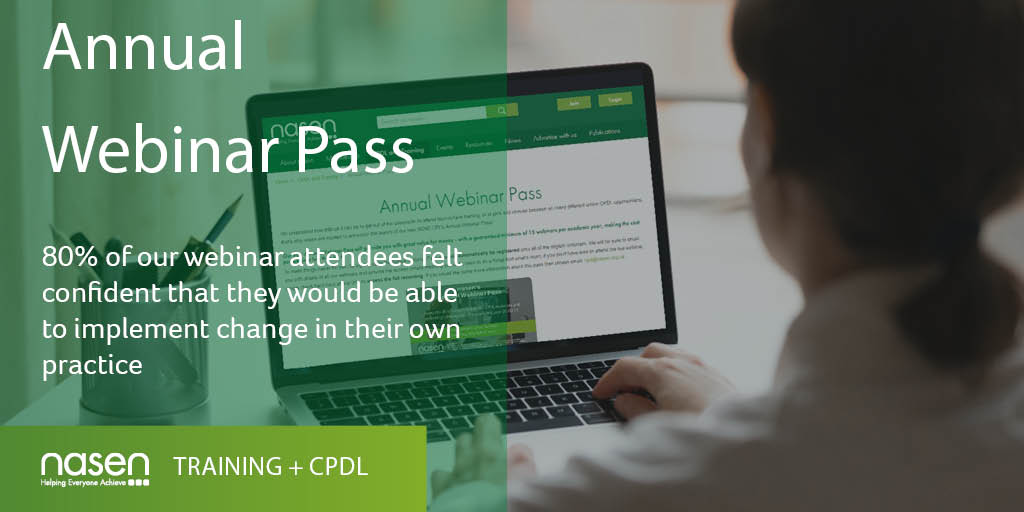 Have you seen our Annual Webinar Pass? Sign up today and gain access to a guaranteed minimum of 15 webinars per academic year! Find out more: https://t.co/53RA99MHuK #Webinar  #CPDL https://t.co/IJpN0NzbxQ