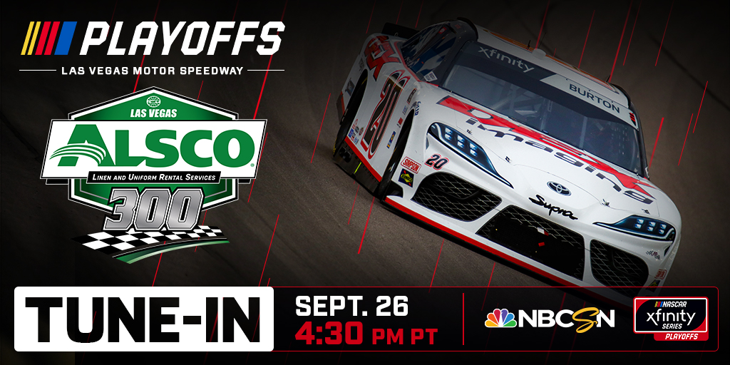 🚨Tune-In ALERT🚨 ALL BETS ARE ON as XFINITY Series drivers take on @LVMotorSpeedway in the #Alsco300 Watch on NBCSN at 7:30 PM EST Whos your pick to win? #NASCARPlayoffs #ItsBristolBaby