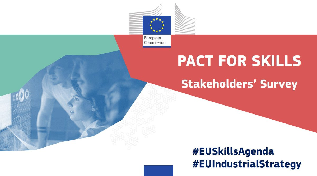 Skills are 🔑 for the future.   Help us strengthen the Pact for Skills & its impact by filling in the stakeholders' survey by 12 October🗓️  ➡️https://t.co/UVJEZEkDim  #InvestEUResearch #EUSkillsAgenda https://t.co/Q8zcymoj5x