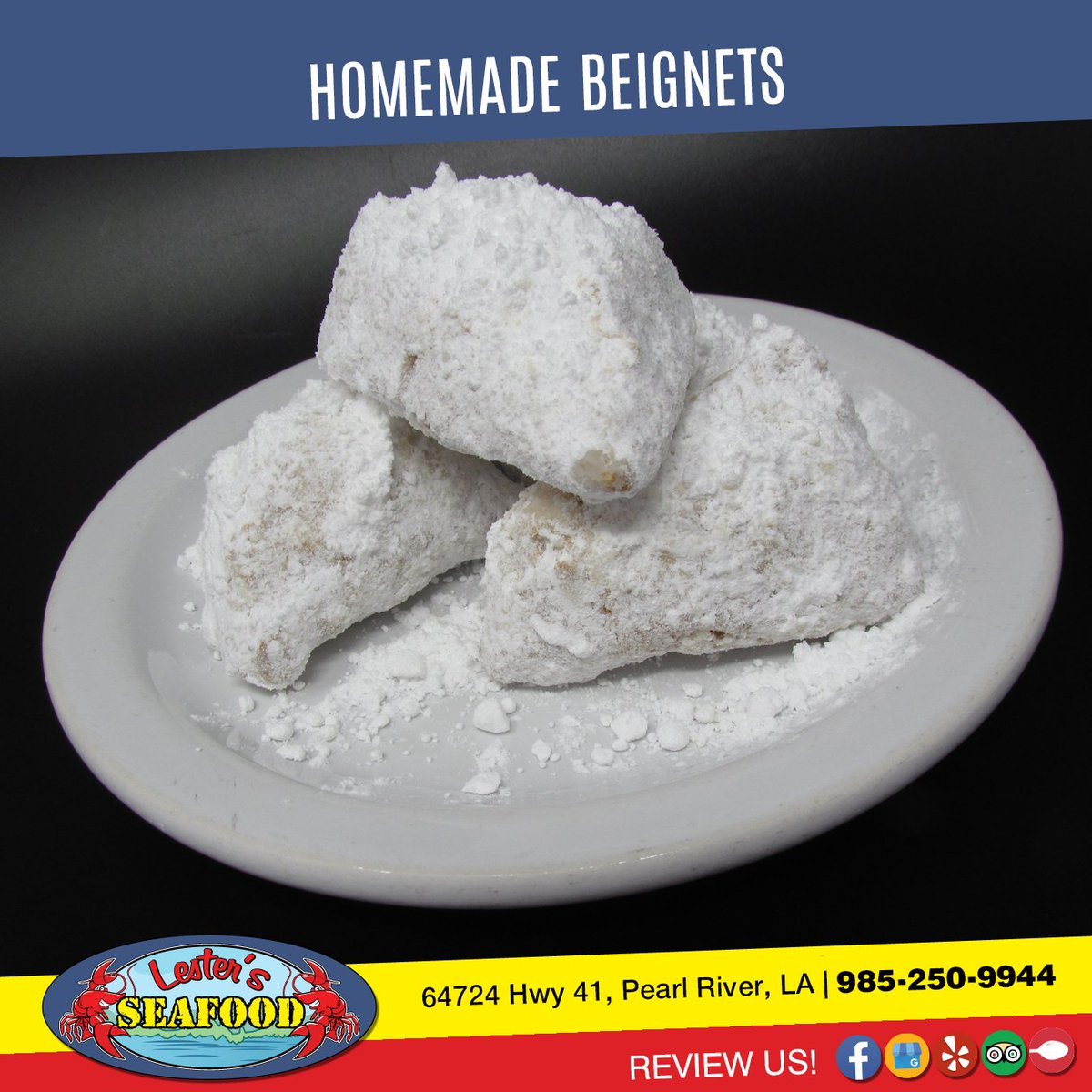 BEIGNETS - Our homemade, deep fried Beignets covered with powdered sugar, are a sweet treat after your meal. 4.50  #LestersSeafood #Chicken #FoodPic #NomNom https://t.co/XhavPm4qSX