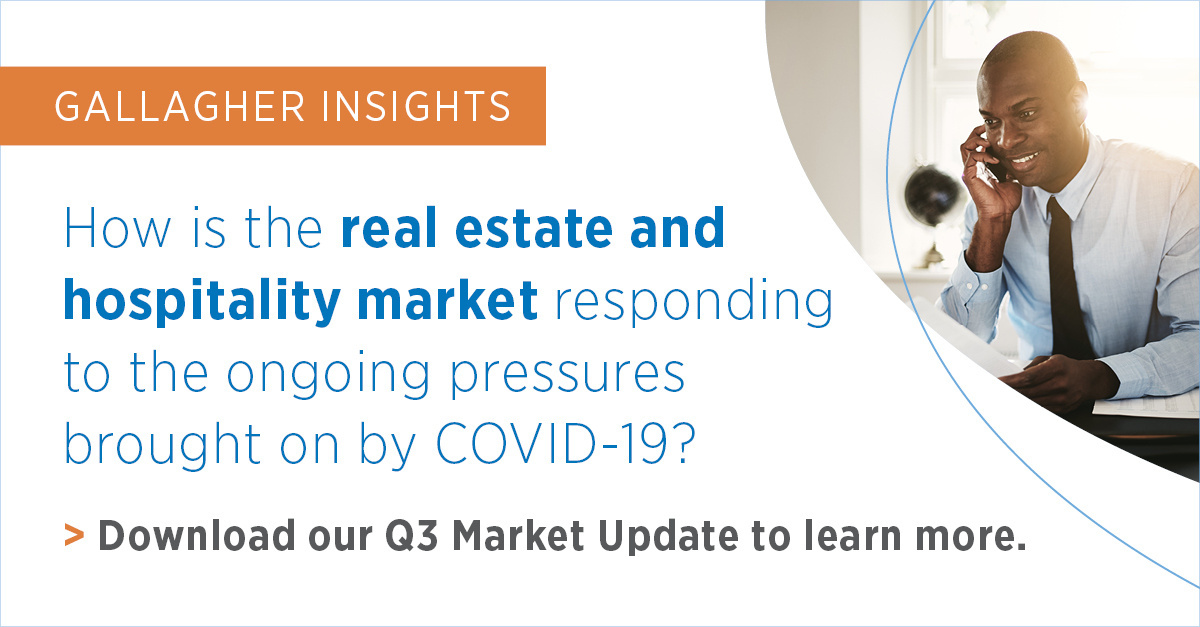 Download Gallaghers Real Estate and Hospitality Q3 Market Update to learn how increases in claims activity and actuarially driven models impact insurance premiums, coverages, and limits. bit.ly/2G2QxXH