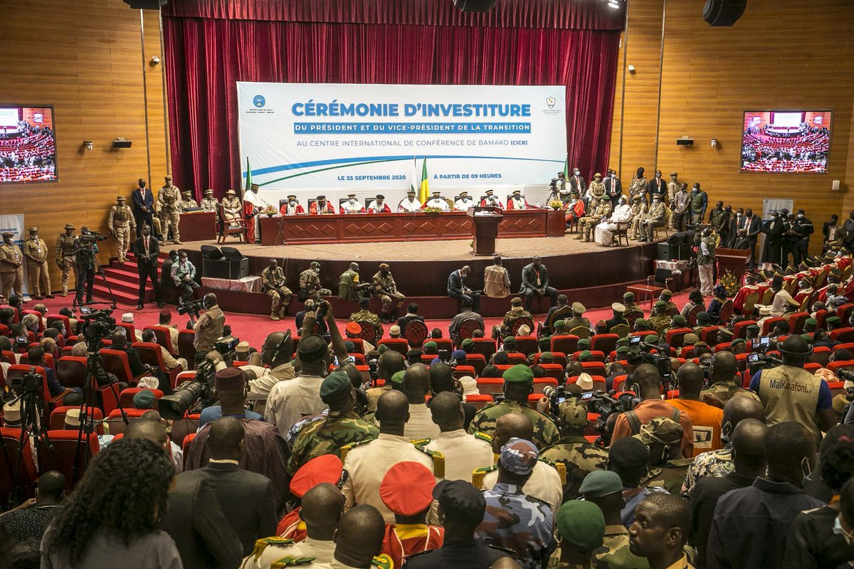 #Mali 🇲🇱 - La cérémonie d'investiture du Président et du Vice-président de la transition s'est déroulée aujourd'hui au Centre international de Conférence de #Bamako #CICB. https://t.co/6iNtOgQwmS