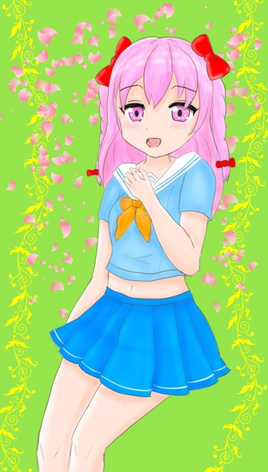 「桜色の新生活」 オリジナルの女の子 なんとか完成しました✨ 課題はまだまだあるけれど 好きをたくさん詰め込みました🍀 #春 #桜色 #新生活 https://t.co/5l1Z3MfnNx