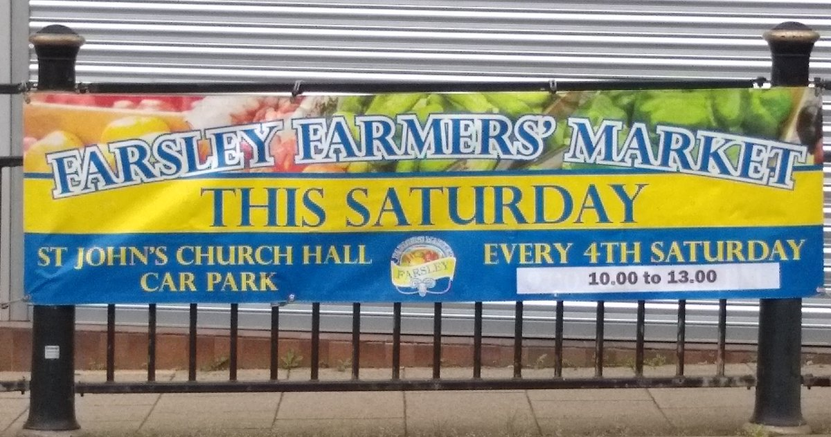 Look out for our banners on #Farsley Town St and advertising boards on the RingRoad!  Visit the Market tomorrow and pick up info about future dates too. https://t.co/r1eszKiNKM