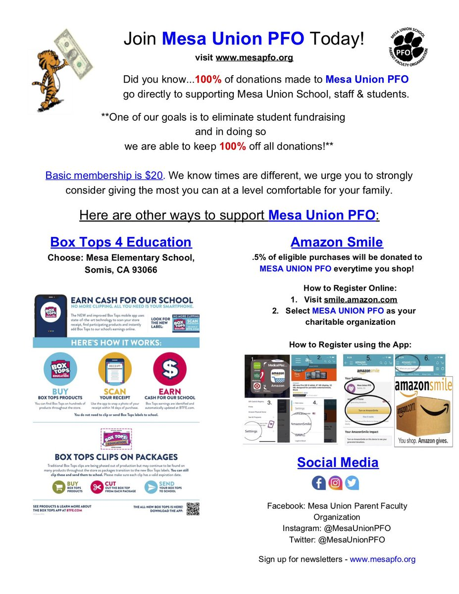 Happy Friday! Every little bit of support for PFO adds up to big opportunities for our Tigers! See flyer for all the easy ways you can help. #mesamoments #GoTheDistance