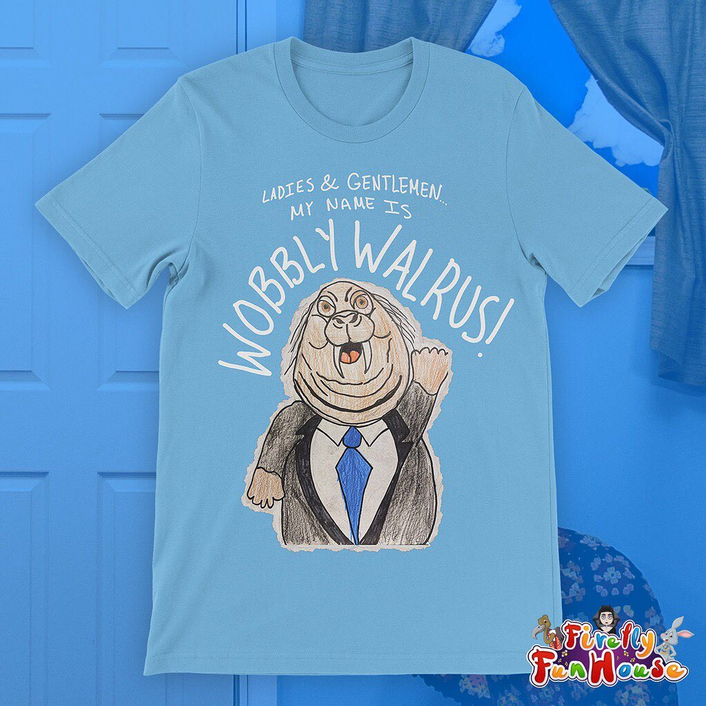 Ladies & gentlemen, my name is #WobblyWalrus! The newest t-shirt in the #FireflyFunhouse is available now at #WWEShop. #WWE #SmackDown  https://t.co/Sl5vYoETqh https://t.co/kF35ulBqje