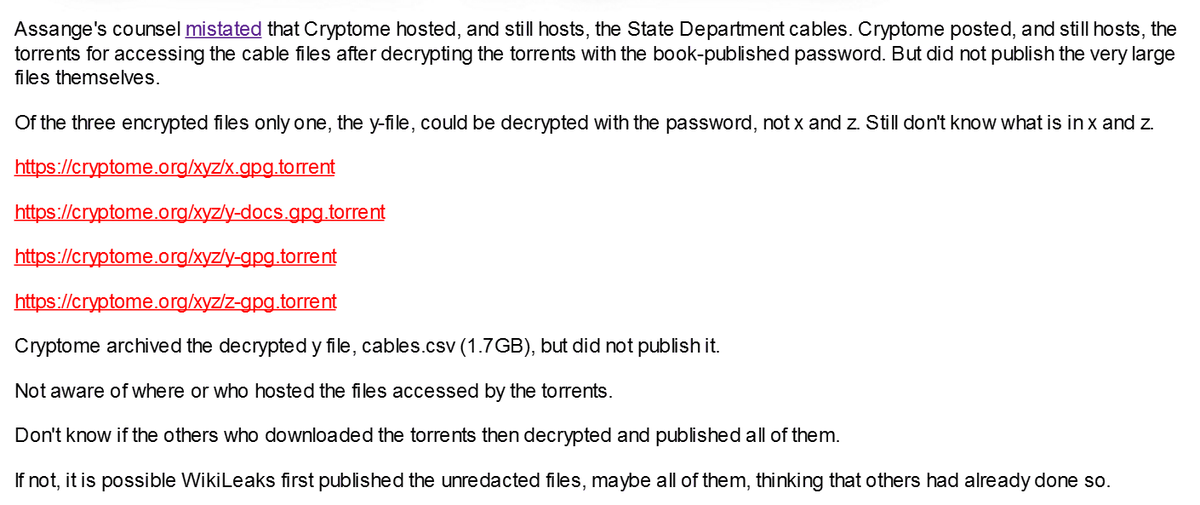 A sends: Cryptome posted on March 9, 2020 a message that it did not host the @WikiLeaks unredacted cables just torrents. That was wrong.  https://t.co/b1LDYTNkAf The cables were published on September 1, 2011 https://t.co/i0SgixT1u1 Listed on main page https://t.co/wE0h2VyOCS https://t.co/j7ZQsoybQ8
