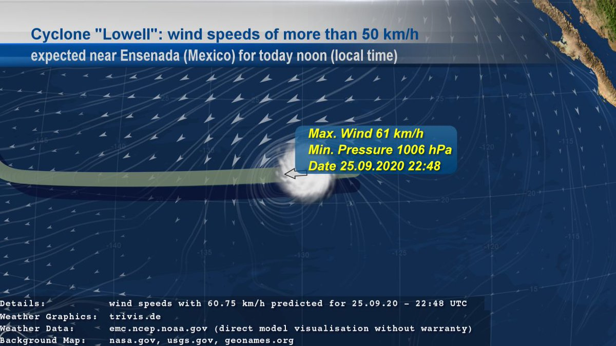 "We also follow Cyclone ""#Lowell"". EMC GFS data contains #weather of type ""#StrongWind"" with wind speeds of more than 50 km/h near #Ensenada (#Mexico) for today noon given in local time. The wind speeds with 61 km/h are expected for 25.09.20 - 22:48 UTC. https://t.co/2VaPs6r3ty"