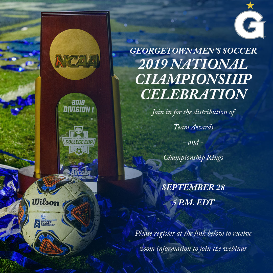 What follows a 🏆? The unveiling of the 💍 of course! Join Coach Wiese, the team and some special guests on Monday at 5 pm to celebrate the 2019 NCAA Champions one more time! Register here bit.ly/32ZH4JA #HOYASAXA #NATTYCHAMPS #RINGSZN