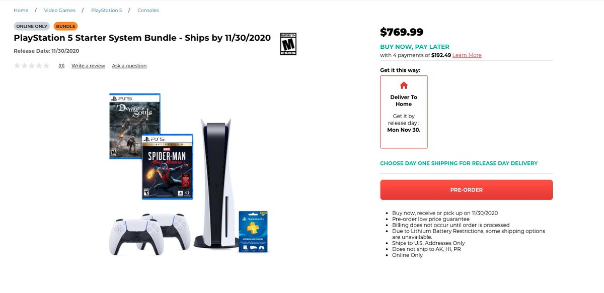 Eli Blumenthal On Twitter Ps5 Regular And Digital Editions Are Still Listed As Unavailable But Gamestop Does Have A New 770 Bundle With A Disc Ps5 Spider Man Ue Demon S Souls A Ps