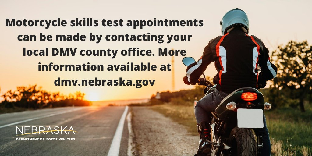 Need a motorcycle drive test? Contact your local DMV county office to schedule an appointment. More information available at https://t.co/iMuqS2MD6I #nebraska #dmv #negov https://t.co/nOjO0JMLOs