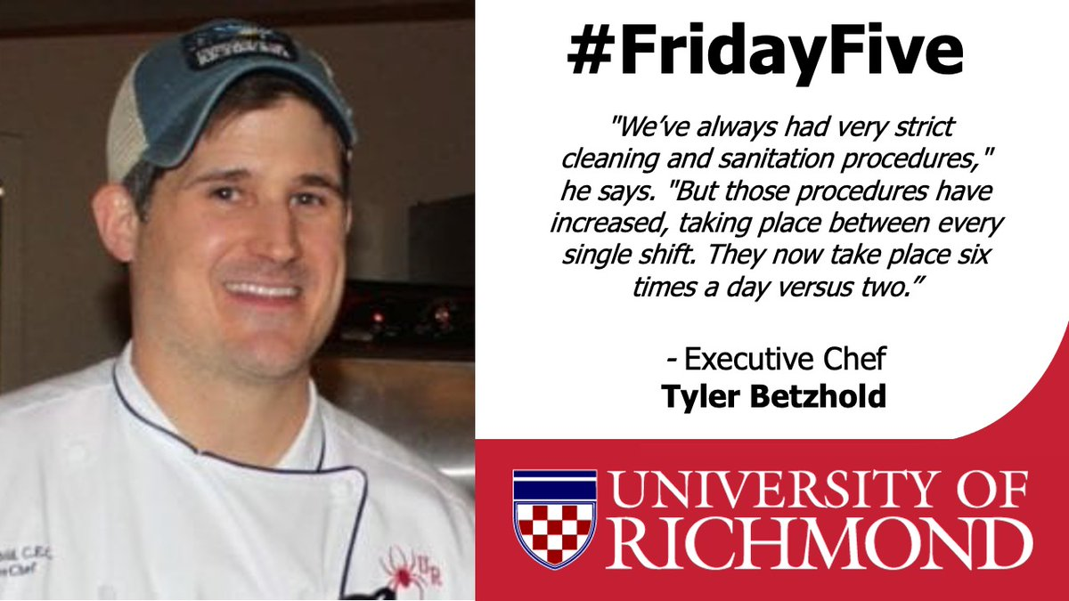 4/5 on our @URDining #FridayFive. College campus operations look much different in the era of #COVID19. Executive Chef Tyler Betzhold was quoted by @Forbes on the precautions @URDining has taken to ensure the safety of the campus community. https://t.co/Okp4kXvQCa https://t.co/IooPp1nraq