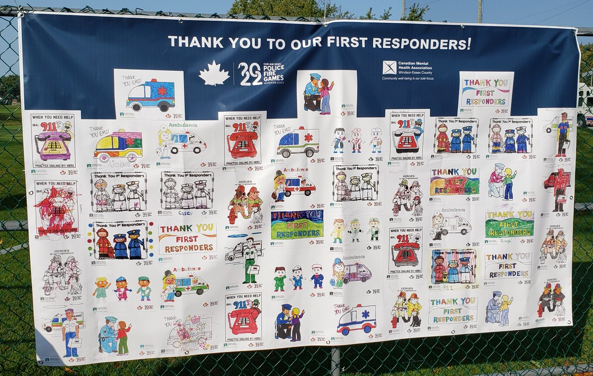 test Twitter Media - We 💖this banner of colouring pages completed by children of all ages giving THANKS🙏 to First Responders for all they do to keep us safe!  #canampolicefiregames #golftournament #mentalhealth #Roselandgolfclub https://t.co/SDB0paYxLO