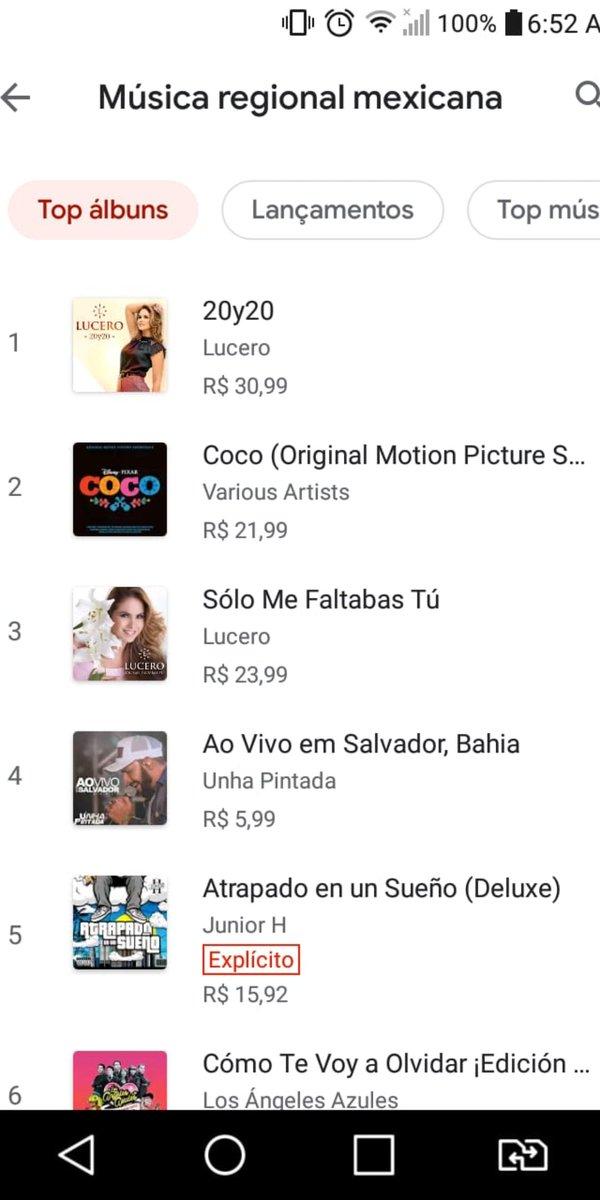 @LuceroMexico Diva, os álbuns #Lucero20y20 #SóloMeFaltabasTú seguem no #1 em Top Álbuns em Música Regional Mexicana, #1 em Top Álbuns em Música Latina, #3 em Top Álbuns em Música Regional Mexicana, #17 em Top Álbuns em Música Latina no Google Play Brasil! ORGULHO QUE DEFINE! 👏♥️ https://t.co/FkwaTvwPNH