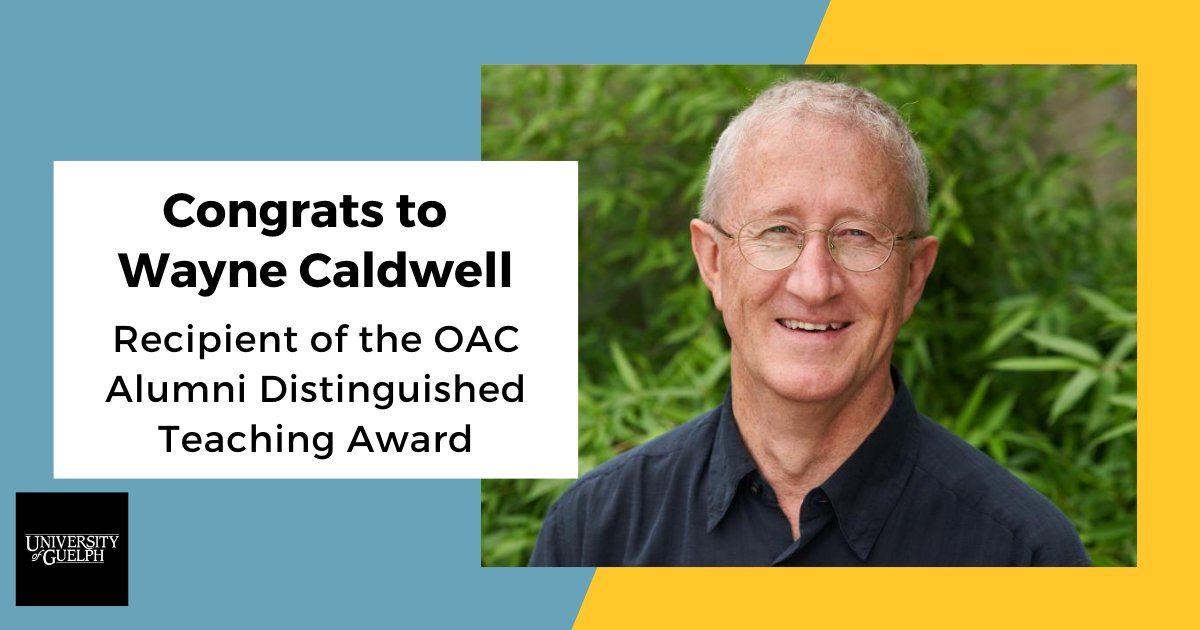 Congratulations to Prof @waynecaldwell on receiving the @OACAlumni Distinguished Teaching Award! A wonderful recognition of your dedication to teaching, mentoring, and rural planning.   #ruralplanning @SEDRD @UofGuelphOAC https://t.co/CVIiZzjuta