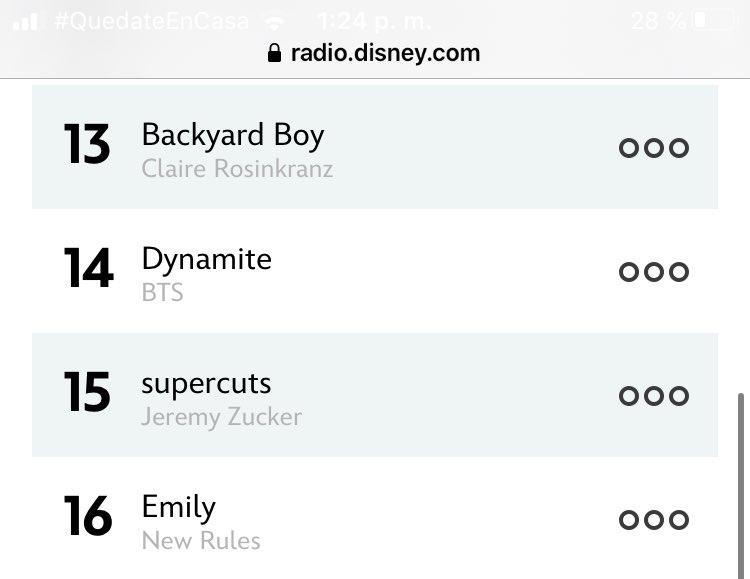 Dynamite bajo de puesto en el ranking radio disney, estaba #10 y ahora #14. No olviden dejar sus votos aquí, pueden hacerlo varias veces y es sencillo   🖇Link https://t.co/O9H0X1rV94 @BTS_twt https://t.co/CV6M4pbsFL
