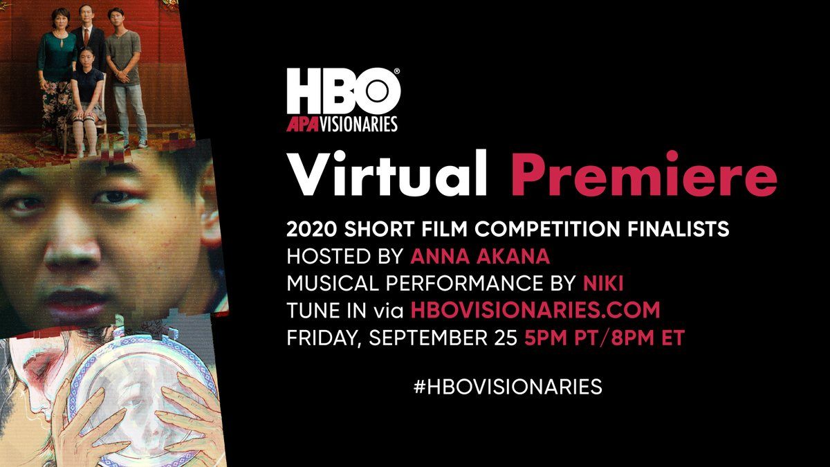 Tonight! Don't miss the virtual premiere of the three winning films from this year's HBO APA Visionaries Short Film Competition. Be sure to tune in as we celebrate incredible shorts from directors Johnson Cheng, Thomas Kim, and Tiffany So ✨ #HBOVisionaries https://t.co/l5Jm91KHUX