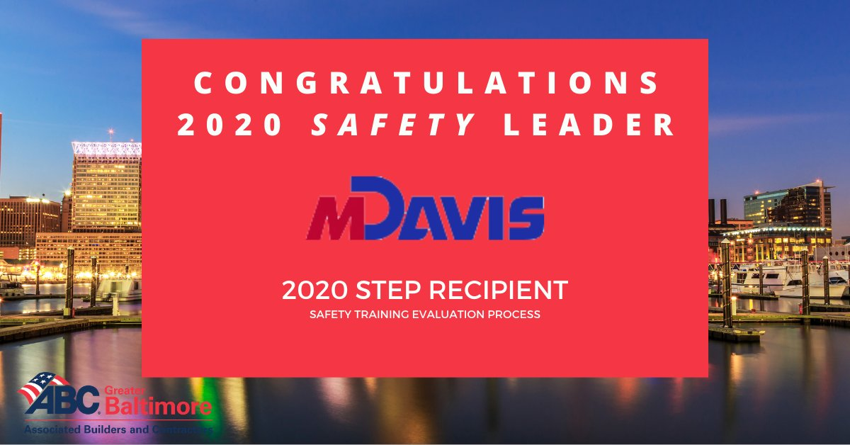 Kudos to M. Davis & Sons on being a 2020 safety leader through our #STEP program! We are #abcproud of you.   Interested in our safety programs? Visit https://t.co/J3bBMXfOq3   #construction #safety #baltimore https://t.co/aM09StvYlV