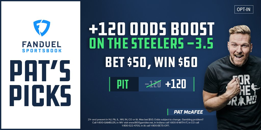 🏈 𝗣𝗔𝗧'𝗦 𝗣𝗜𝗖𝗞𝗦 🏈  @PatMcAfeeShow's odds boost for Week 3 is now available 💰  Steelers to cover -3.5 vs the Texans  Was: -120 Now: +120🔺  HAMMER it → https://t.co/SF88xpodXr https://t.co/GNFX9QWB9A