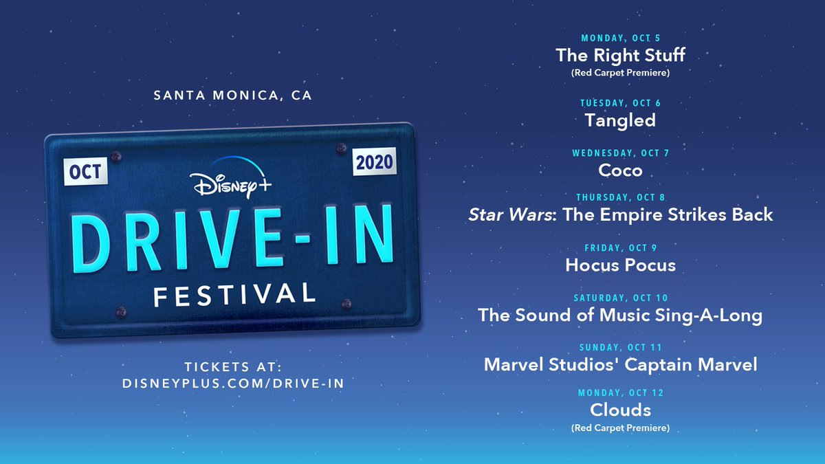 Hey, Californians! Something exciting is right down the road… The #DisneyPlusDriveIn Festival pulls into Santa Monica, CA from October 5-12. Learn more: https://t.co/GUT8mraDBY https://t.co/NuHDkZWY15