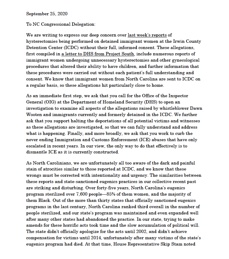 We're calling on NC members of Congress to take actions to Stop ICE abuses.  Read our letter here: https://t.co/dZtHJqlZdd https://t.co/DNI5krUZ1s