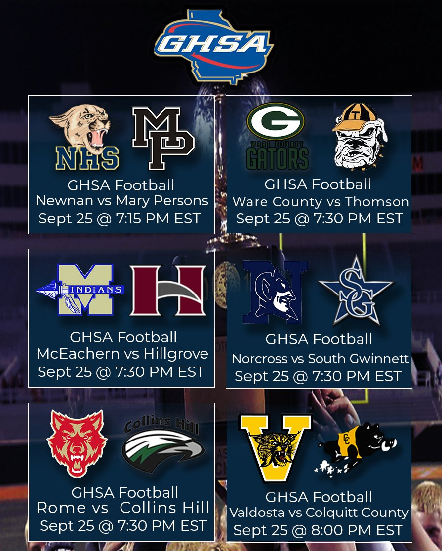 It's GAMEDAY 🏈 Stream ANY of these highly-anticipated @OfficialGHSA Games of the Week LIVE TONIGHT, Sept 25, starting at 7:15pm EST on the NFHS Network!  @NewnanHigh I @CCHSPackers I @collinshill I @NwGaFootball I @mahone_derrick  📺 Watch Link: https://t.co/Tjvm2gqFUe https://t.co/iqSDUFyh4n