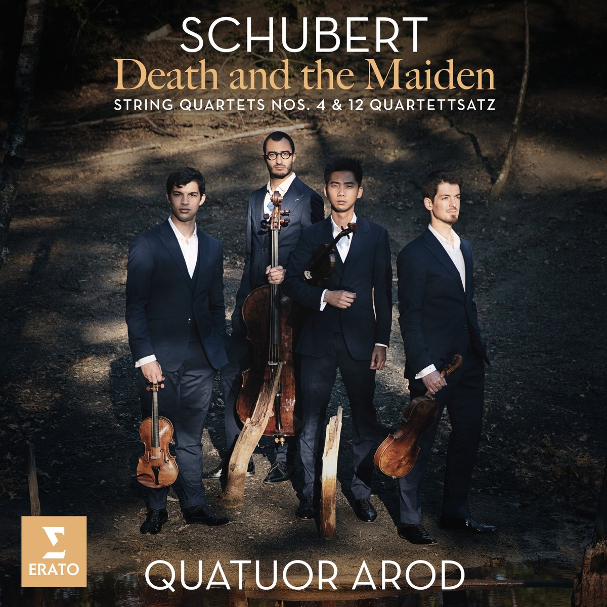 """The second movement of Schubert's """"Death and the Maiden"""" string quartet opens with a somber theme, a death march, which then expands into several variations.  Listen to the @Quatuor_Arod's skilled interpretation, featured on their upcoming Schubert album: https://t.co/5IvDYjRDRa https://t.co/cExGRwdm2q"""