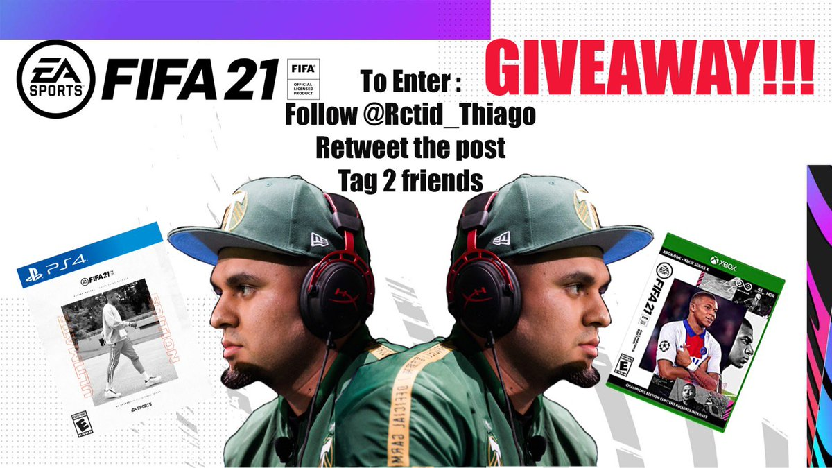 FIFA 21 GIVEAWAY!  (First of 4 giveaways)  -Follow me -Retweet the post -Tag 2 friends  Follow instagram for increased chances of winning  https://t.co/DIU6xS1Mvj  -winners will be messaged OCT. 5th  #rctid #fifa21 #giveaway https://t.co/LhborijR2U