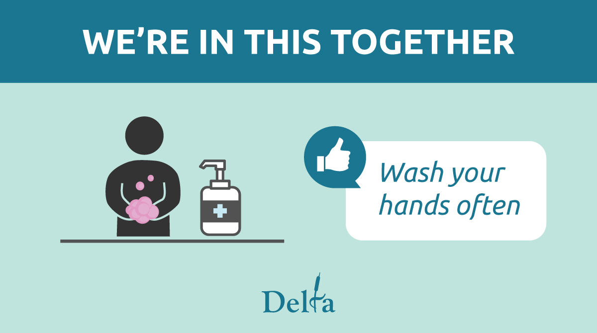 Cleaning your hands often remains one of the most effective ways to protect yourself and others against the spread of COVID-19. Remember to wash your hands with soap and water for 20 seconds or use an alcohol-based hand-sanitizer regularly! #InThisTogether #DeltaBC https://t.co/7cjKhhEEhP