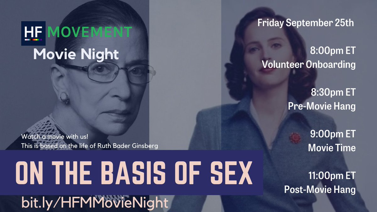 Are you joining us for Movie Night! Join us in celebrating #RBG's life and accomplishments.  We'll be watching On the Basis of Sex.  Movie starts at 9, goes for 2 hours.  Join us for the pre-hang and stick around for the post hang!  https://t.co/O0Xx2vl1CB https://t.co/Lc55uwE7Pa