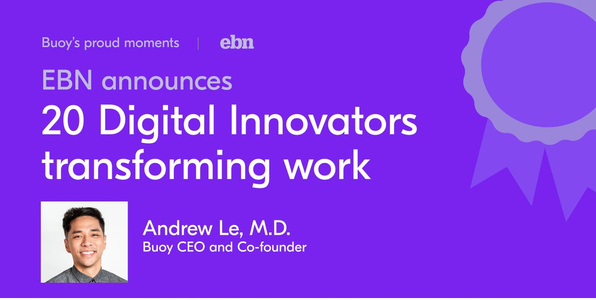 Rewarding awarding news that makes you 😁: congrats to the whole Buoy team and our CEO @Andrew_Q_Le who has been named an @EBNbenefitnews 2020 digital innovator 👏🏾  #digitalhealth #innovation #ai #entrepreneur https://t.co/YGvgkqHPfg