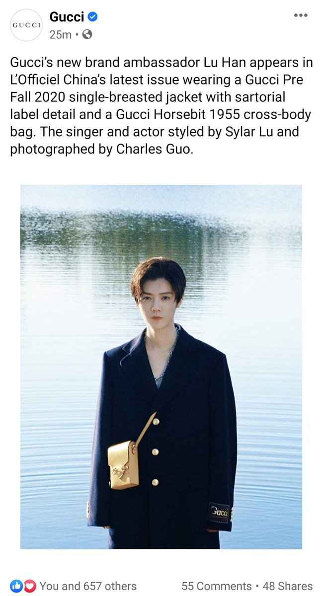 [PICTURE] 200926 Gucci's Facebook updates: Gucci's new brand ambassador #LuHan appears in L'Officiel China's latest issue wearing a Gucci Pre Fall 2020 single-breasted jacket with sartorial label detail and a Gucci Horsebit 1955 cross-body bag  Link:https://t.co/jLlPwGXX7u  #鹿晗 https://t.co/lKvkwJ8una