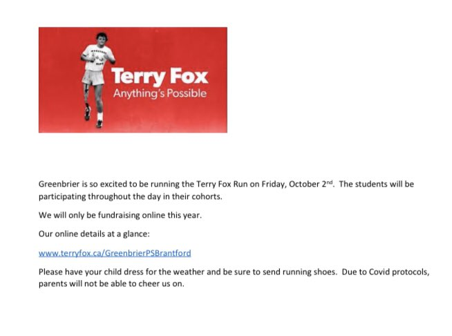 NEXT FRIDAY OCTOBER 2 is our @TFFSchoolRuns #terryfox #greenbrier #grizzlies #care https://t.co/WWL2BxIAwQ