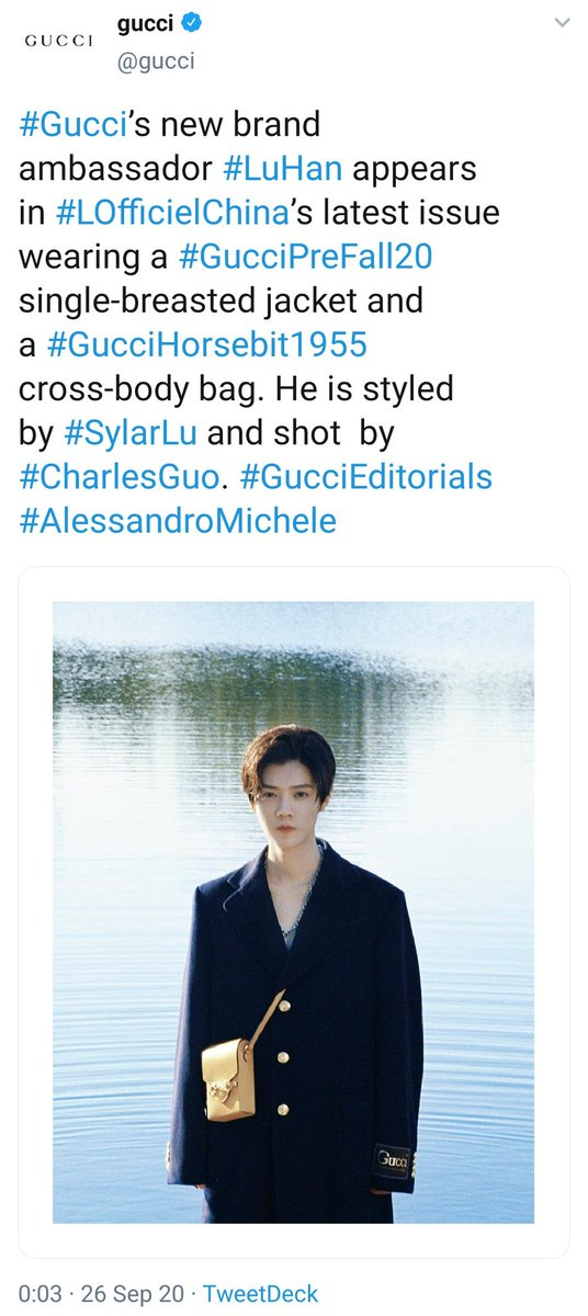 [PICTURE] 200926 Gucci's twitter updates: #Gucci's new brand ambassador #LuHan appears in #LOfficielChina's latest issue wearing a #GucciPreFall20 single-breasted jacket and a #GucciHorsebit1955 cross-body bag. He is styled by #SylarLu and shot by #CharlesGuo.  #鹿晗 https://t.co/6znMojeFfa https://t.co/vB2K21WVi0