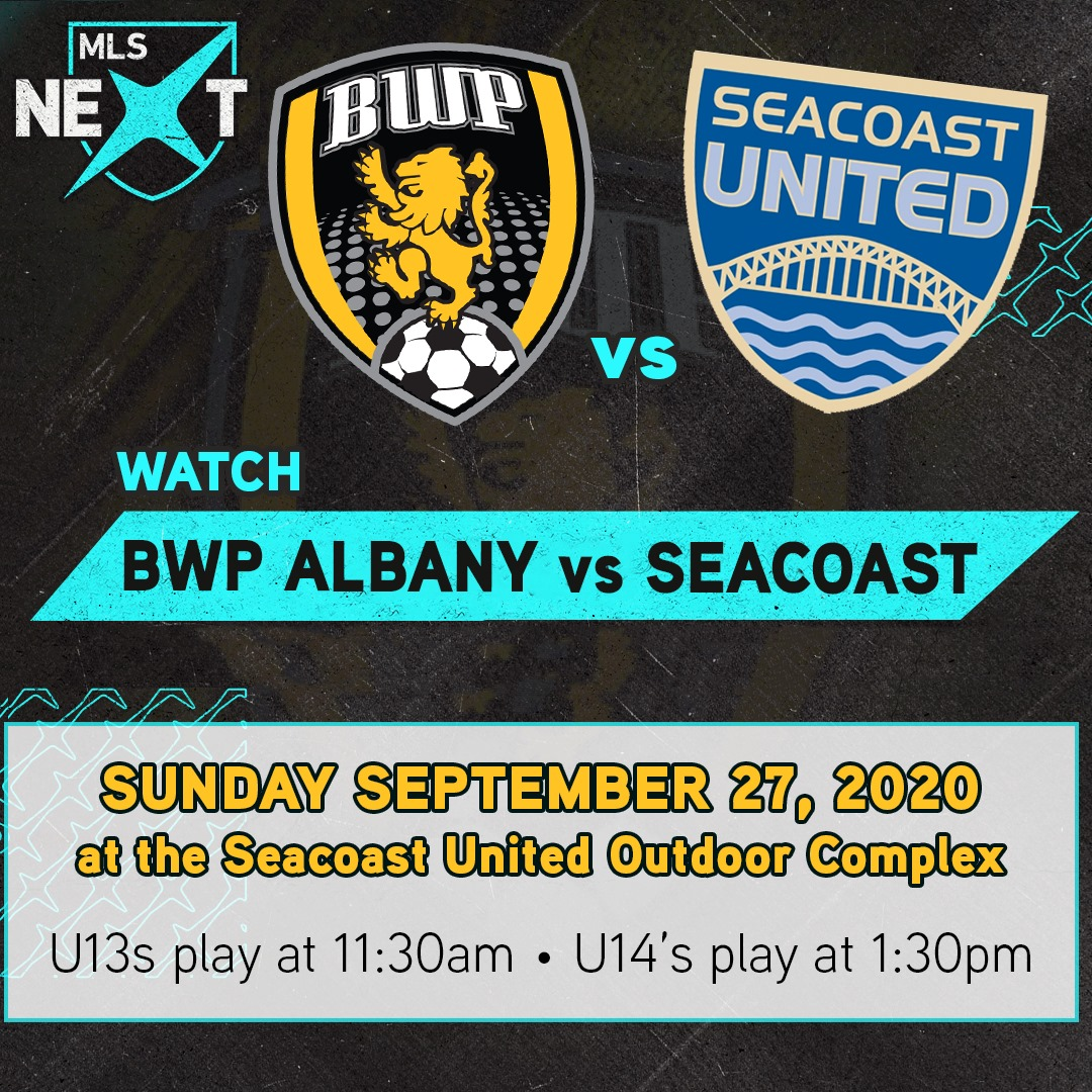 BWP Fam -  Sunday, September 27th, don't miss our U13s play at 11:30 AM and our U14's play at 1:30 PM. Special thanks to MLS NEXT and Seacoast United for bringing us together for this special game. . . #nassau #longisland #albany #soccer #nationalsoccerleague #nationalsoccer https://t.co/cNJPGWUWaG