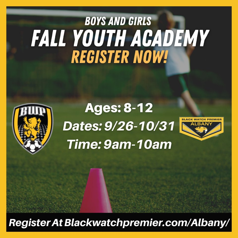 BWP FAM! Register now for our Black Watch Premier Fall Youth Academy - join us as we offer an exciting opportunity for additional touches on the ball, skill development, and tactical progression. . . Register at https://t.co/1StOZUIIOB . . #nassau #longisland #albany #soccer https://t.co/YZrK1QUd51