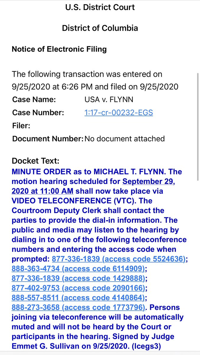 The court has released the details on how to watch/listen to the Flynn hearing on Tuesday. See attached.   @SidneyPowell1 https://t.co/c7GpXGmipM