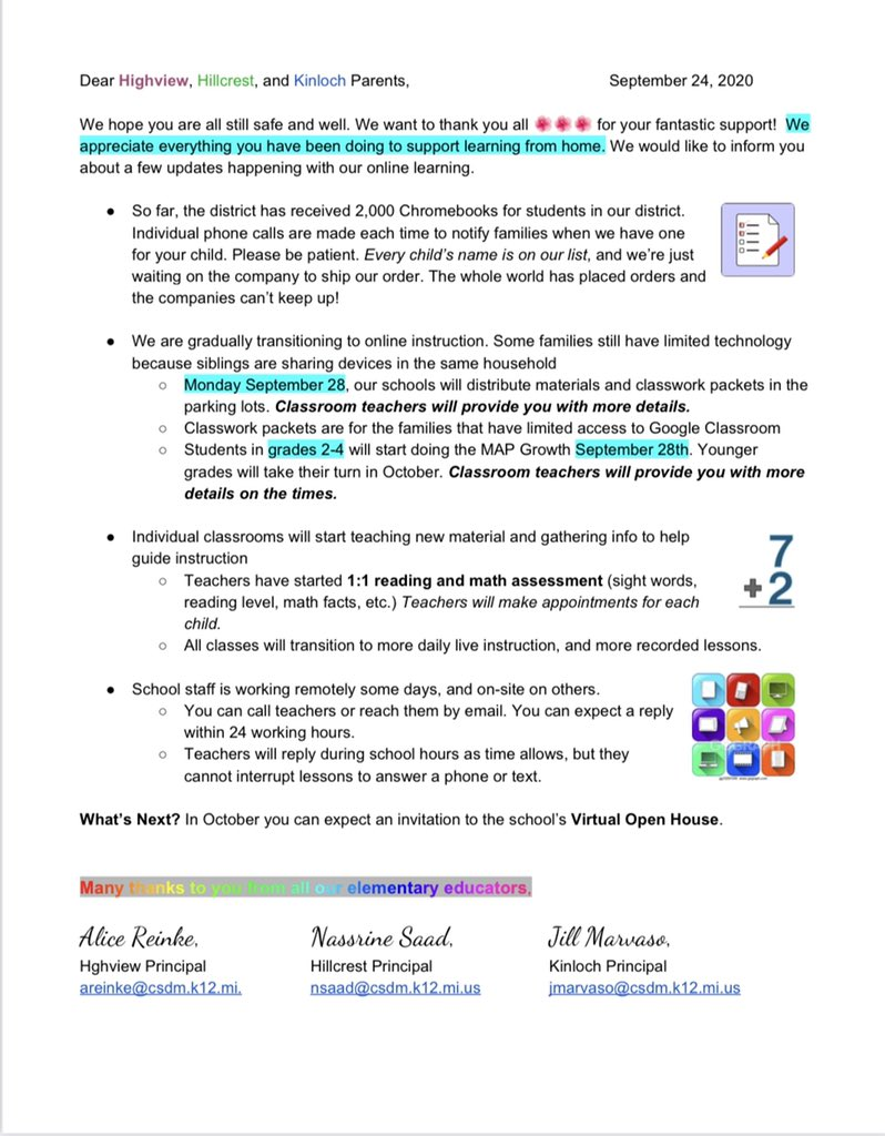 Here is our weekly update! Find out more about Chromebooks, NWEA Growth, and staff communication here! #hillcresthuskies #hillcrestk4 #elementaryschool https://t.co/8gHhxflBcA