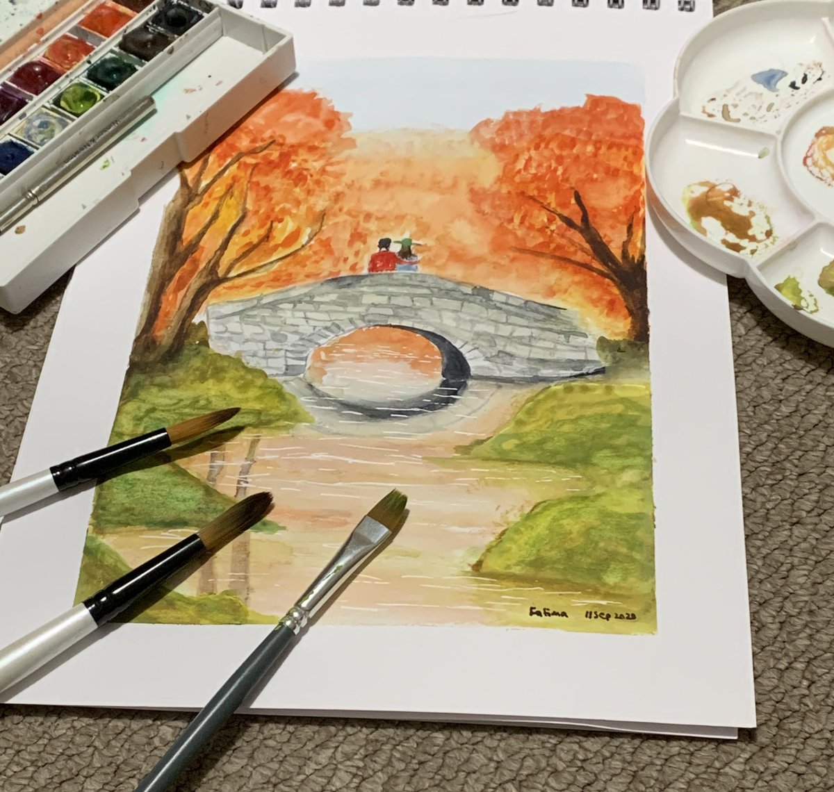 Free hand watercolor painting. Drawing autumn season from whatever is going on in my mind. May art help me not to give up on everything.  #phdchat #phdlife #watercolorpainting #watercolor https://t.co/Szd2sPU7NY