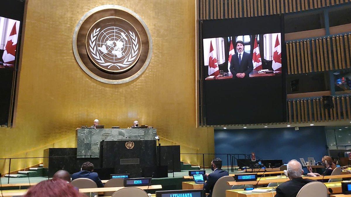 « Le monde est en crise. Et pas seulement à cause de ces derniers mois. Pas seulement à cause de la COVID-19. Mais à cause des dernières décennies. Et à cause de nous. C'est un cri d'alarme, et nous ne pouvons pas l'ignorer. » –Le PM 🇨🇦 Justin Trudeau à l'Assemblée générale #AGNU https://t.co/ruKFQJBvpe