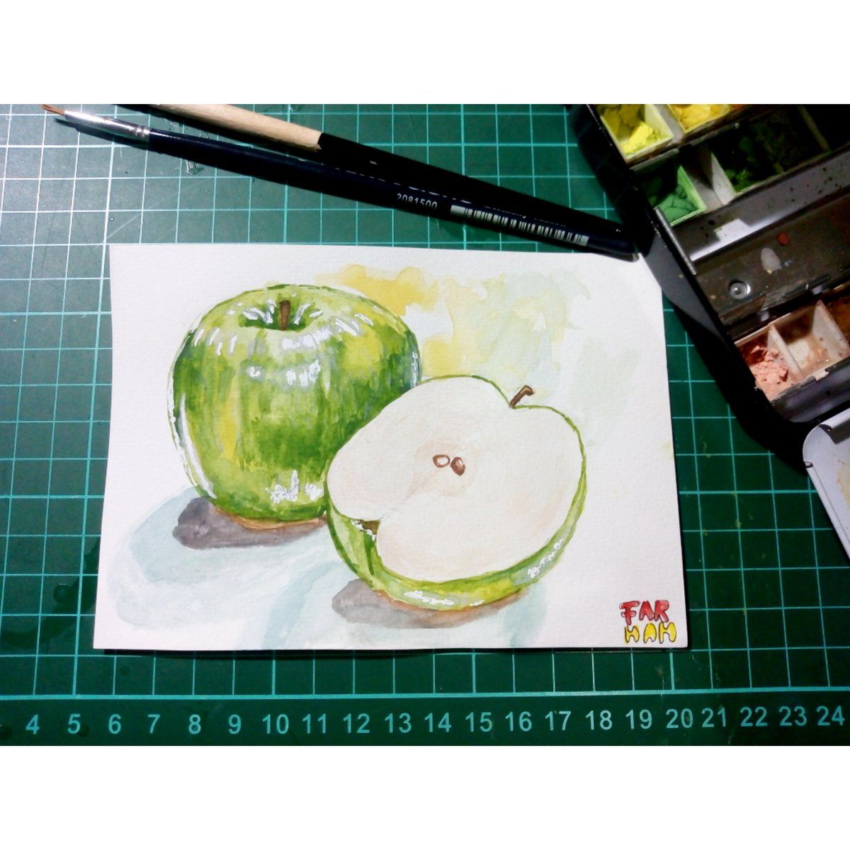 Green Apple 🍏 - Painting Fruits Food Illustration Process with Watercolors  You can watch my Illustration Process with Watercolors on my Youtube channel ⏩ Farhah Art : https://t.co/ggoxkM1jYk  #watercolor #watercolorart #watercolorillustration #draw #painting #watercolorprocess https://t.co/Ypsyirc0SV