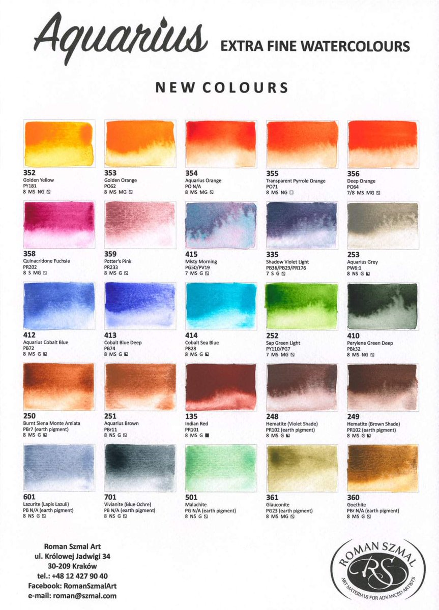 BUT LOOK AT THIS ✨ my fav brand is releasing new colors 😱❤❤❤ I'm gonna buy golden orange, misty morning and sea cobalt blue and maybe quinacridone fuchsia or some green or earth color 🤔 #romanszmal #aquarius #watercolor https://t.co/VEKM1uvlQ0