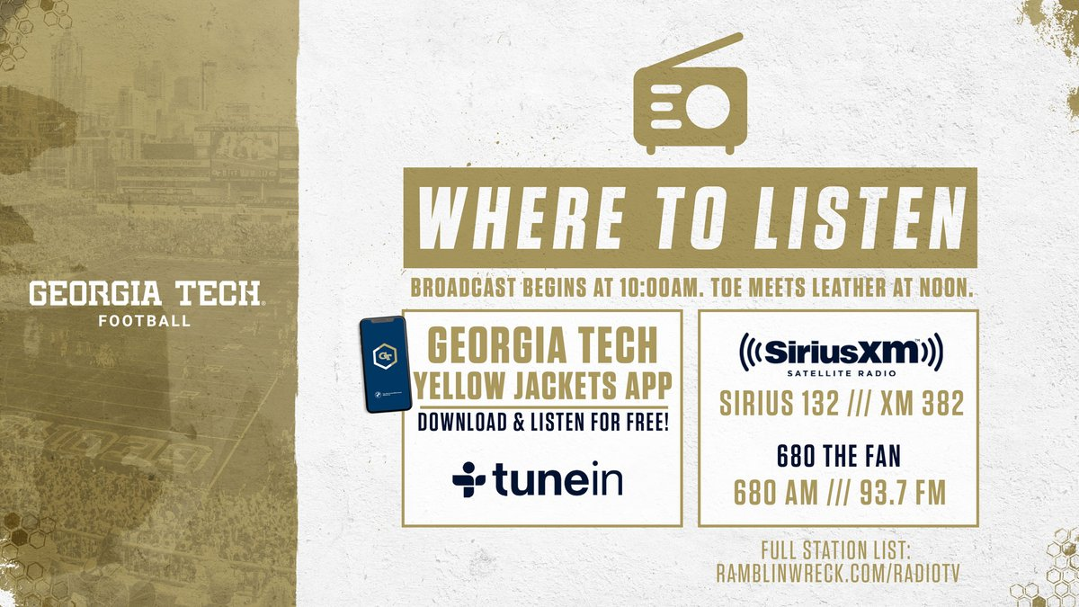 Pre-game coverage for today's @GeorgiaTechFB game is now live on the Georgia Tech Sports Network and @680TheFan. Kickoff at Syracuse at noon. #GTvsCUSE 💻 buzz.gt/gamedaylive