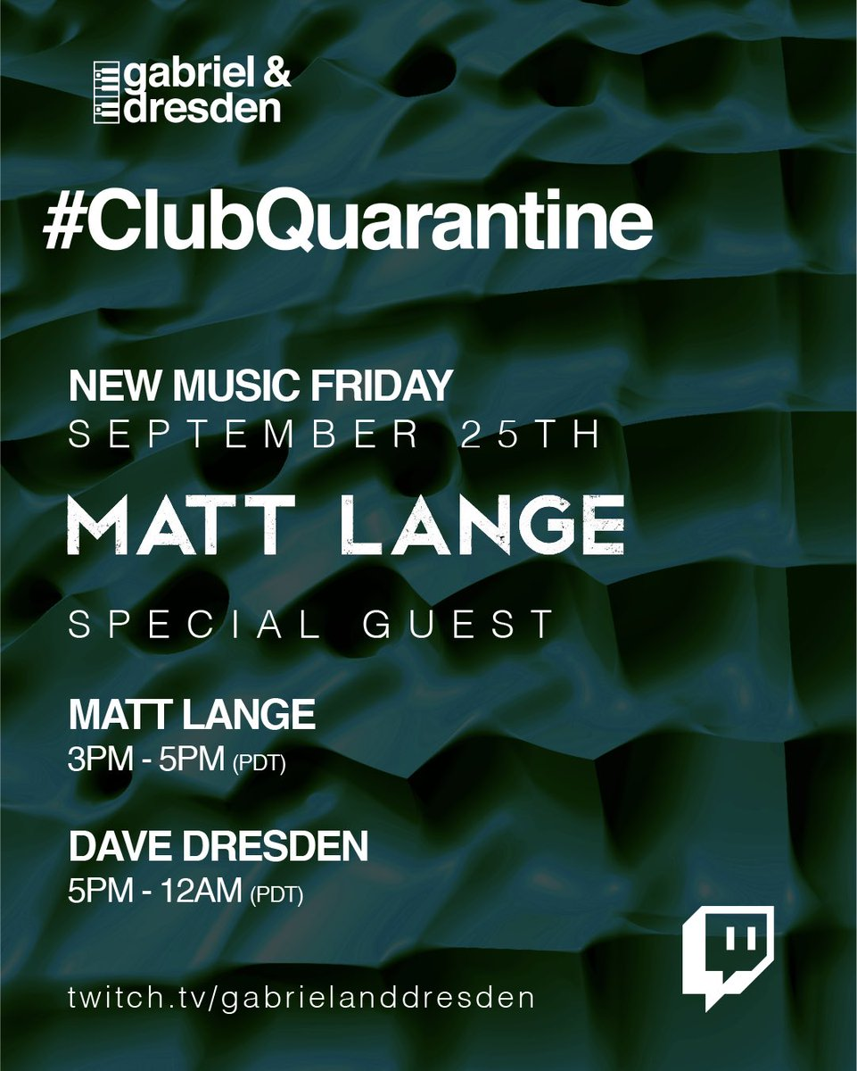 Today on Club Quarantine New Music Friday we have a guest mix from @MattLange and then @davedresden delves into the new @eelkekleijn @kolschofficial and @Lane8music albums and drops some IDs too.  Matt Lange starts at 3pm PDT Dave Dresden starts at 5pm PDT https://t.co/pbpFG7p4b8