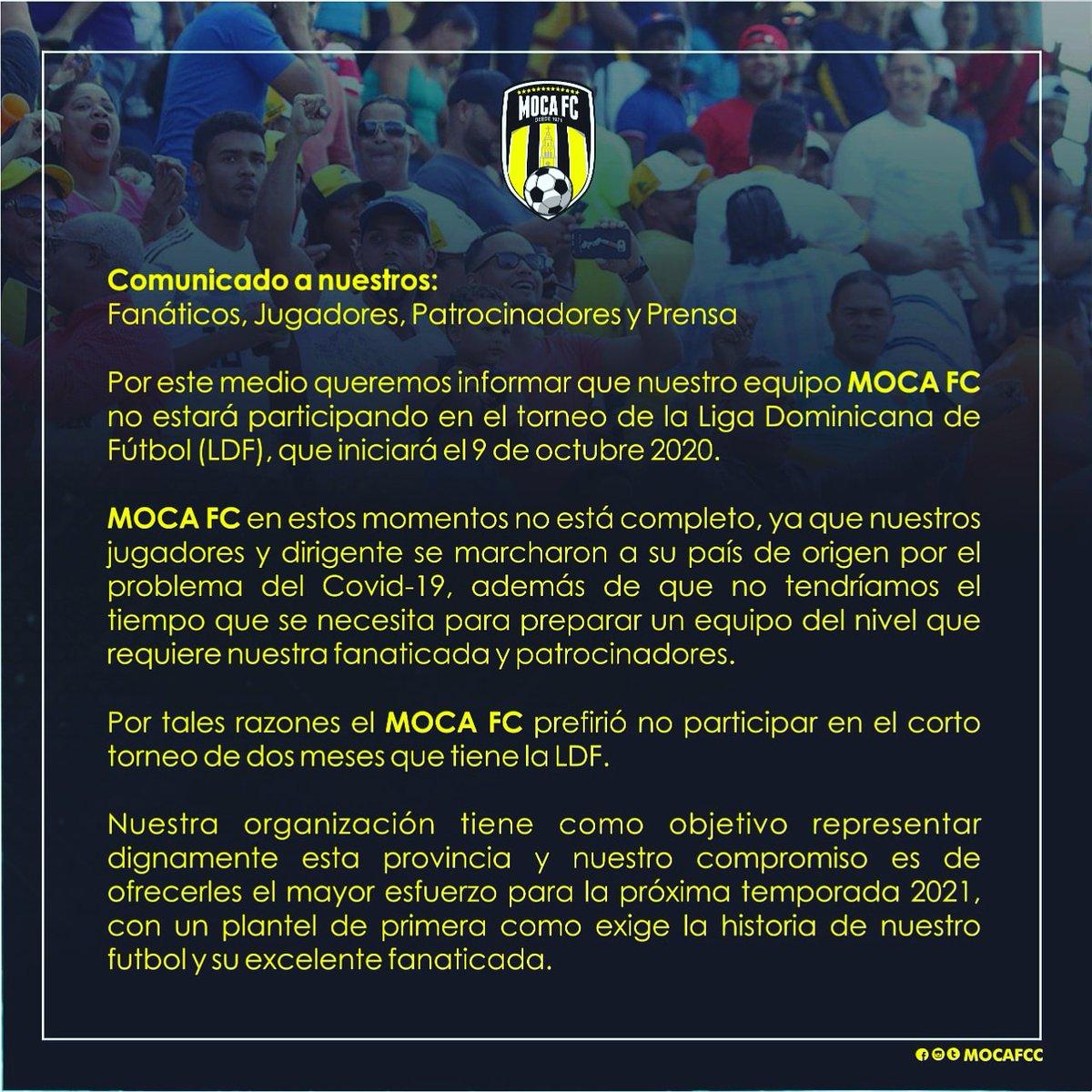 Comunicado  #mocafc #soymocafc #ldf2020  #ldf #futbol #potd #rd #liga #moca #week #entrenamiento #day #passion #viernes https://t.co/ckggnTt6Cn