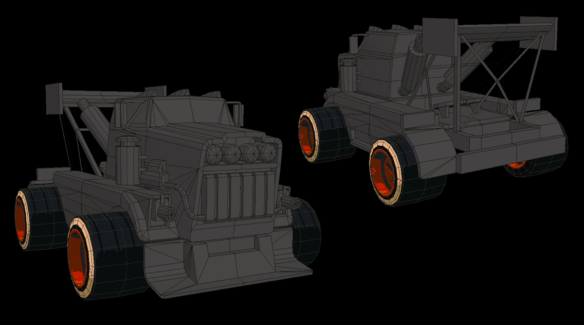 A little WIP shot of Sweety Fox's rig!  Can you drift a semi truck with 30 cal machine gun headlights?  Stay tuned, race fans!  #lowpoly #MotorKhana #MOTORKATA https://t.co/x54TcnDFiB