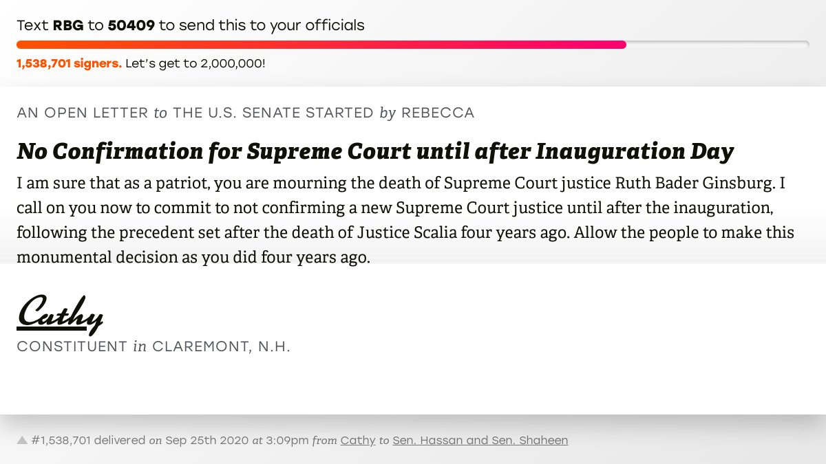 "🖋 Sign ""No Confirmation for Supreme Court until after Inauguration Day"" and I'll deliver a copy to your officials: https://t.co/rf17b9ZZE4  📨 No. 1,538,701 is from Cathy to @Senatorhassan and @SenatorShaheen #NH02 #NHpolitics #fitn https://t.co/NnYDyu8XO9"